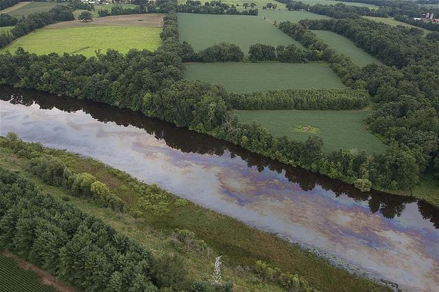 Oil moving down the Kalamazoo River after the 2010 spill.