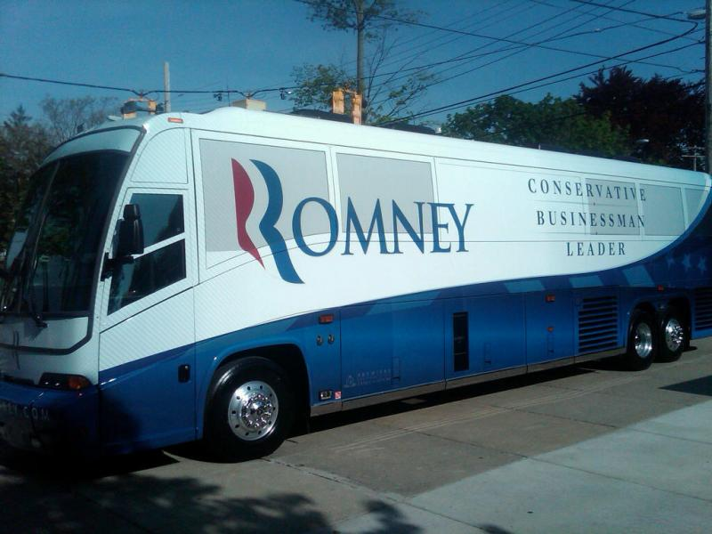 The Romney bus pulls into Michigan.