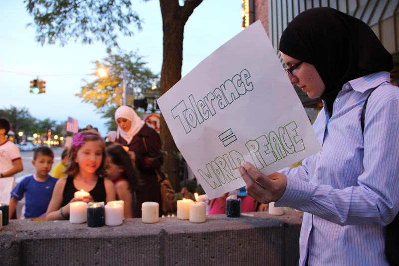 Muslims hold a vigil in Royal Oak in response to attacks in Libya