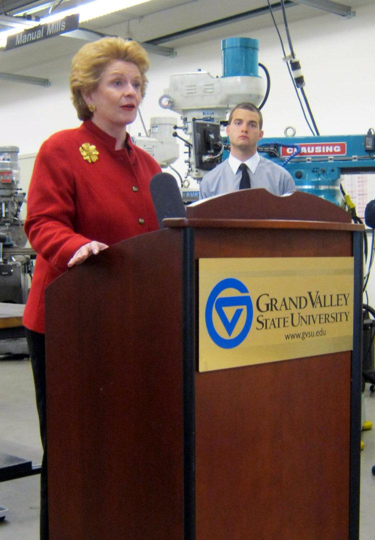 "Senator Debbie Stabenow unveiled the ""Bring Jobs Home Act"" at Grand Valley State University in Grand Rapids Monday morning. GVSU student senate president Jack Iott is to her right."