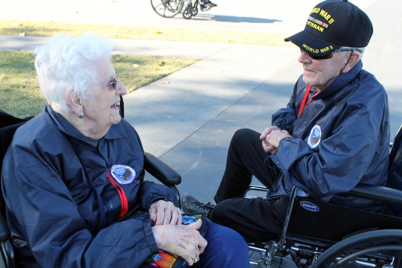 WWII veterans Catherine VandeBunte and Lew Robinson reminisce about the time they spent at a Navy base near San Francisco.