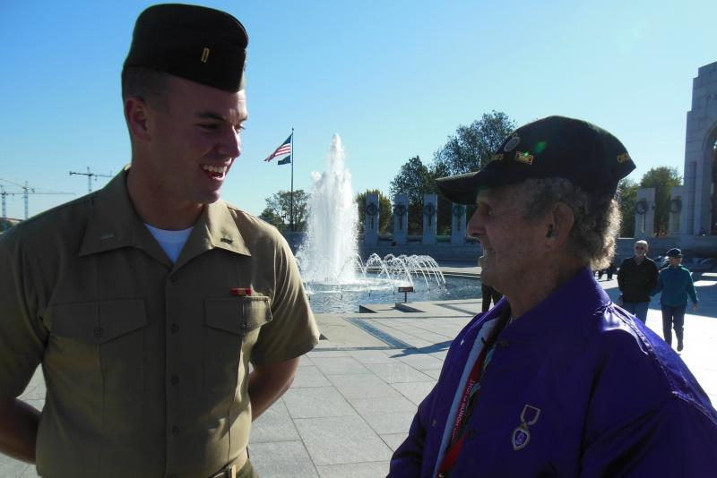 2nd Lieutenant Corey Boudiette stops to talk to WWII veteran and Marine Kenneth Wells in Washington D.C.