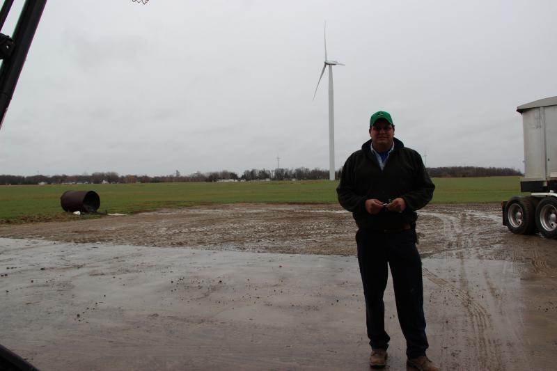 Kent Humm says he agreed to put a wind turbine on his land because of the environmental benefits.