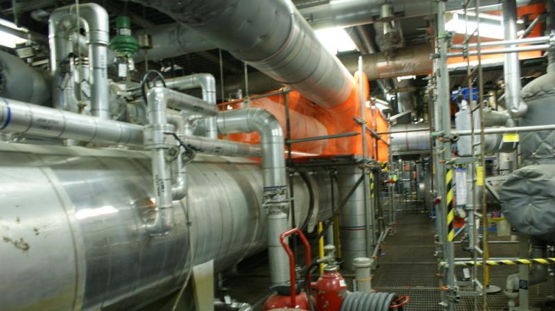 The second level is a maze of pumps that get the steam from the reactor to the turbines.