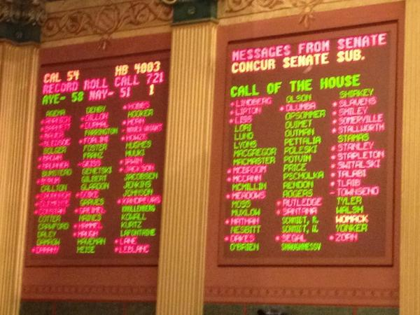 The first right-to-work bill passes the House today (HB 4003). Here are the votes.