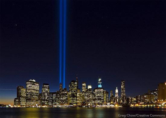 Two beams of light over New York City during the 9/11 memorial in 2012.