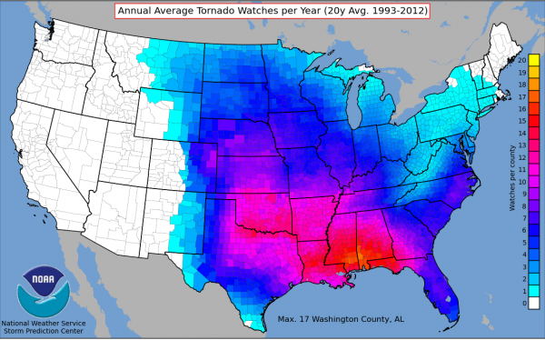 The average number of tornado watches per year from 1993 to 2012.