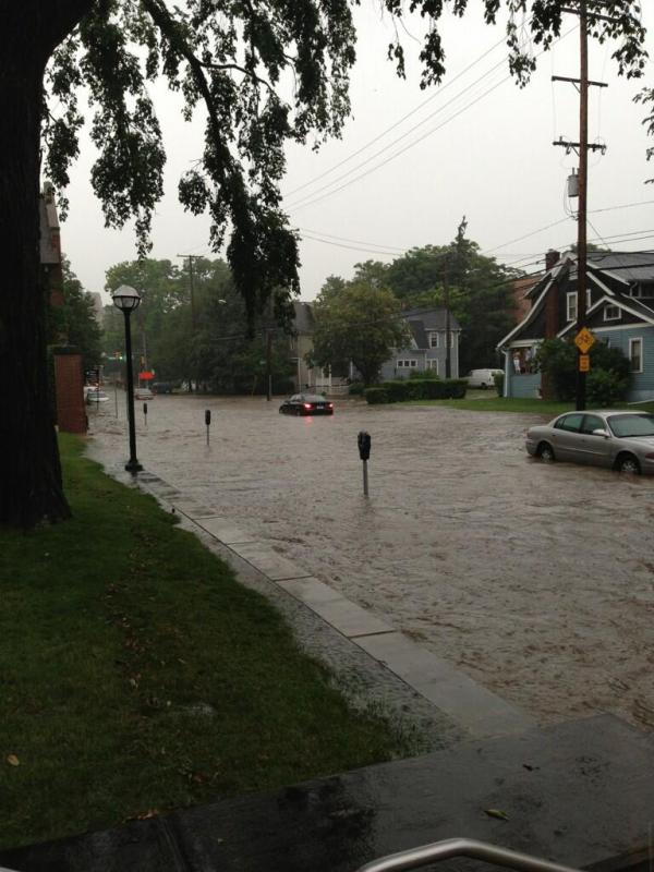 Flooding in Ann Arbor after last night's rain.