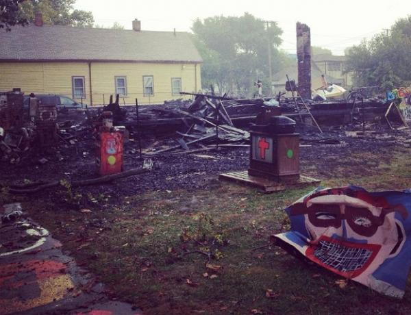 The remains of the OJ House in the Heidelberg Project. The house burned down on Oct. 5th.