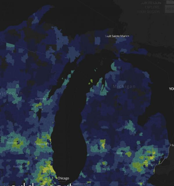 This is a screenshot of Michigan. Yellow means more affluent and more college educations. The greens, light blues and dark blues are increasingly less wealthy and have lower percentages of college-educated adults.
