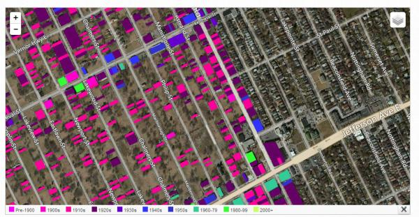 Detroit's east side meets Grosse Pointe Park. The colored squares show the age of the buildings in Detroit.
