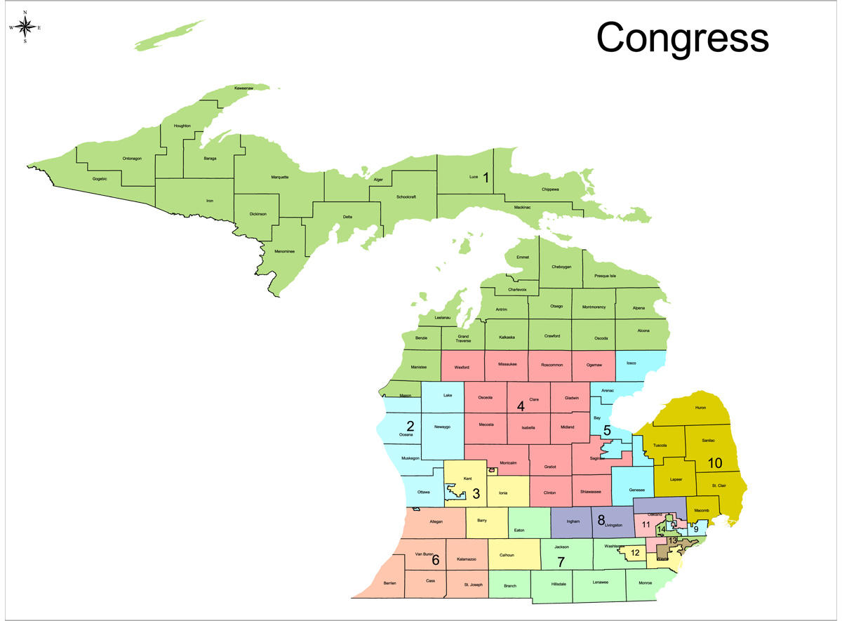 Redistricting In Michigan New Political Maps From The Michigan - Michigan on a us map