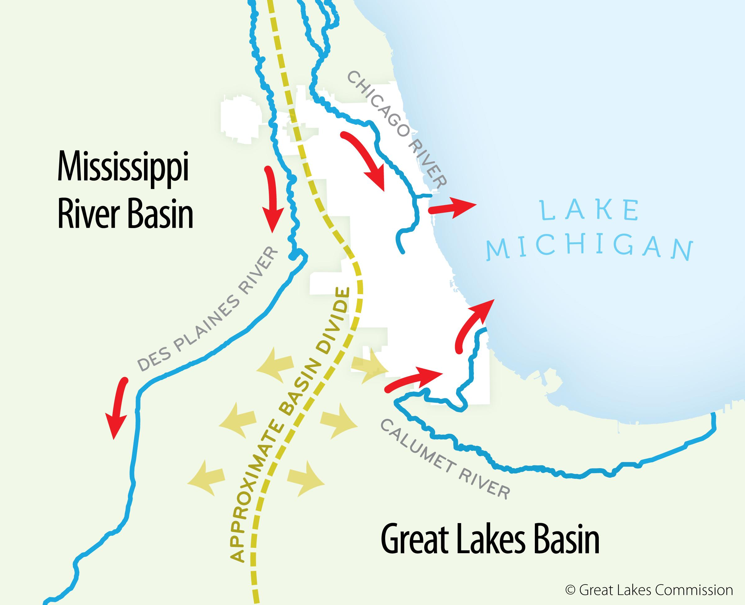 Report Time To Sever Ties Between The Great Lakes And The - Chicago map lake michigan