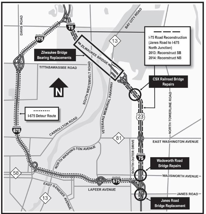 I 75 Michigan Map.Heading North On I 75 You Ll Run Into Zilwaukee Bridge Construction
