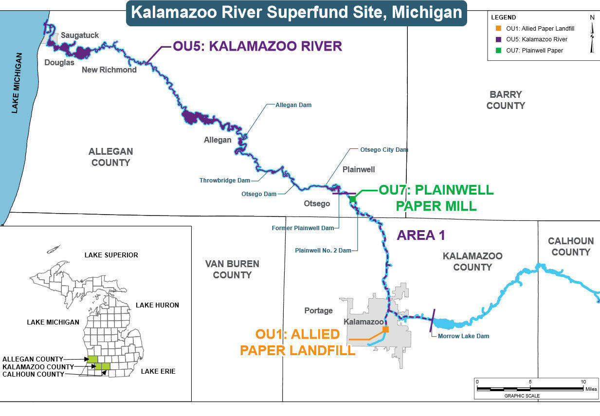 Plainwell Michigan Map.Epa Proposes Plan To Dig More Pcbs Out Of Kalamazoo River For 20