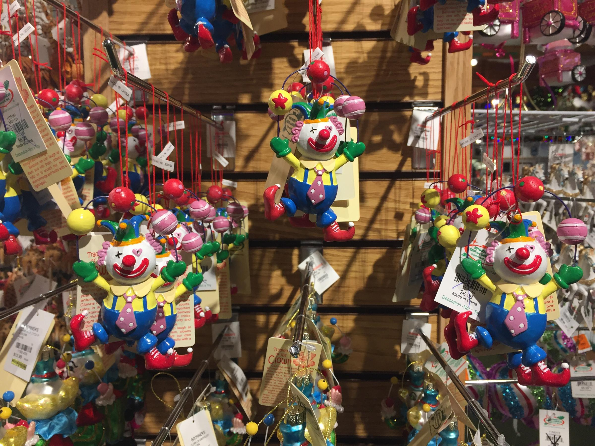 some ornaments on display in the store