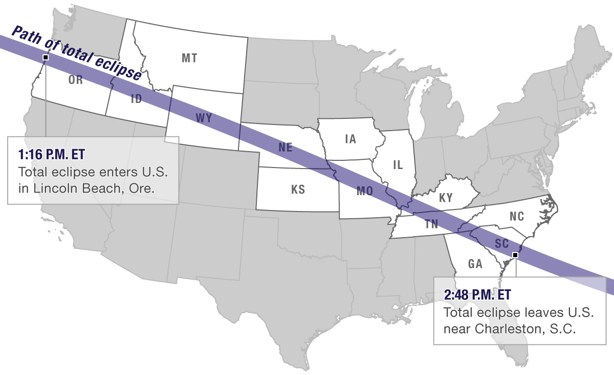 LIVE MAP Total Solar Eclipse Crosses The US Michigan Radio - Michigan on a us map