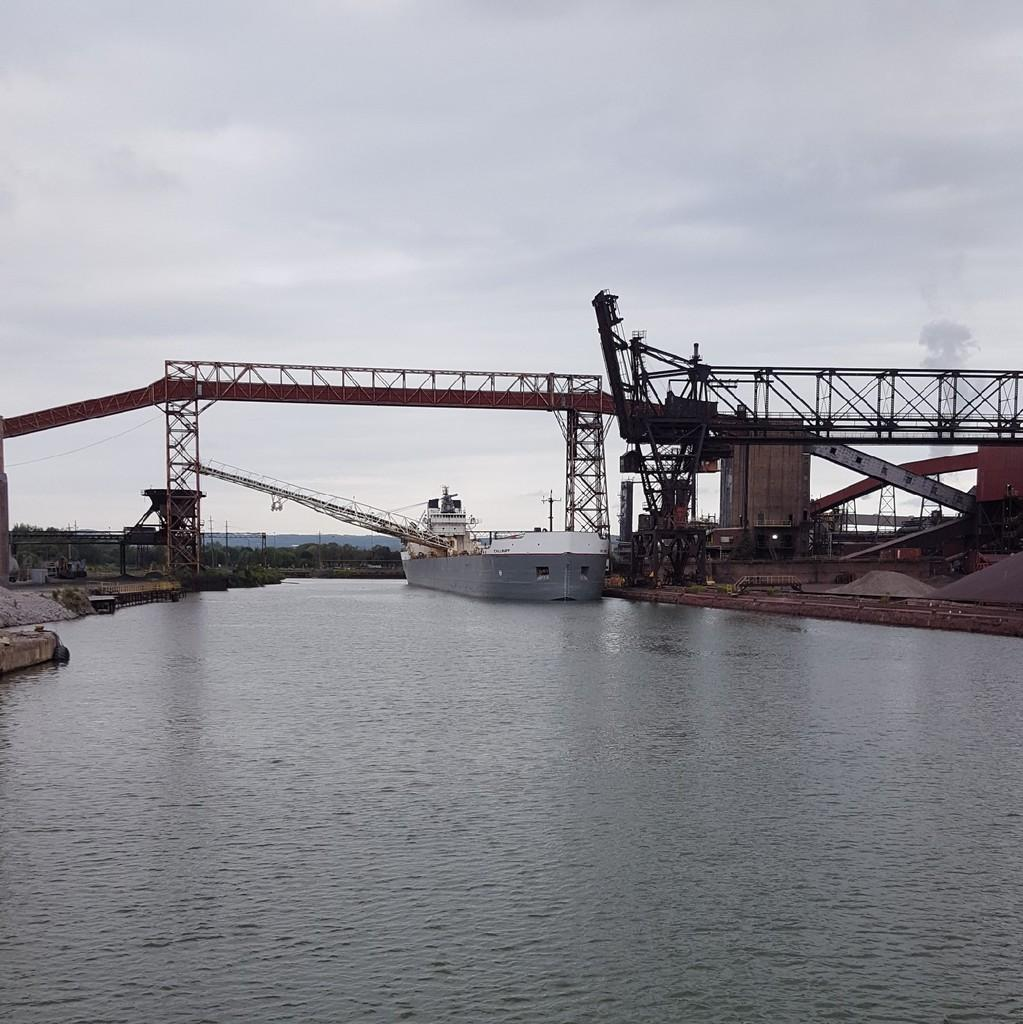 The Calumet unloading coal at Algoma a steel manufacturer in Sault Ste. Marie Ontario on Aug. 9 just hours before it ran aground