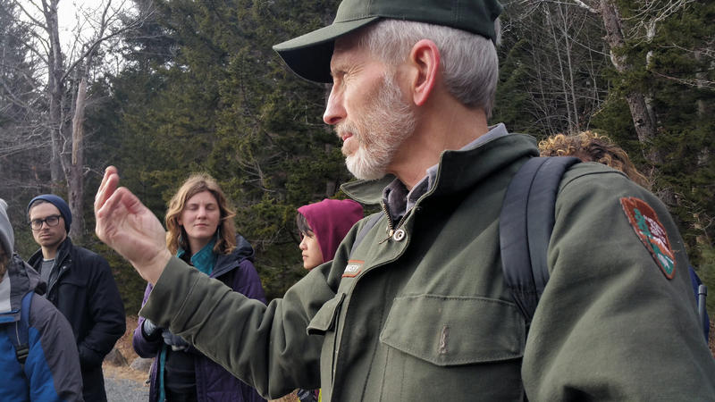 National Park Service biologist  Bruce Connery, explains what to look for when tracking otters.