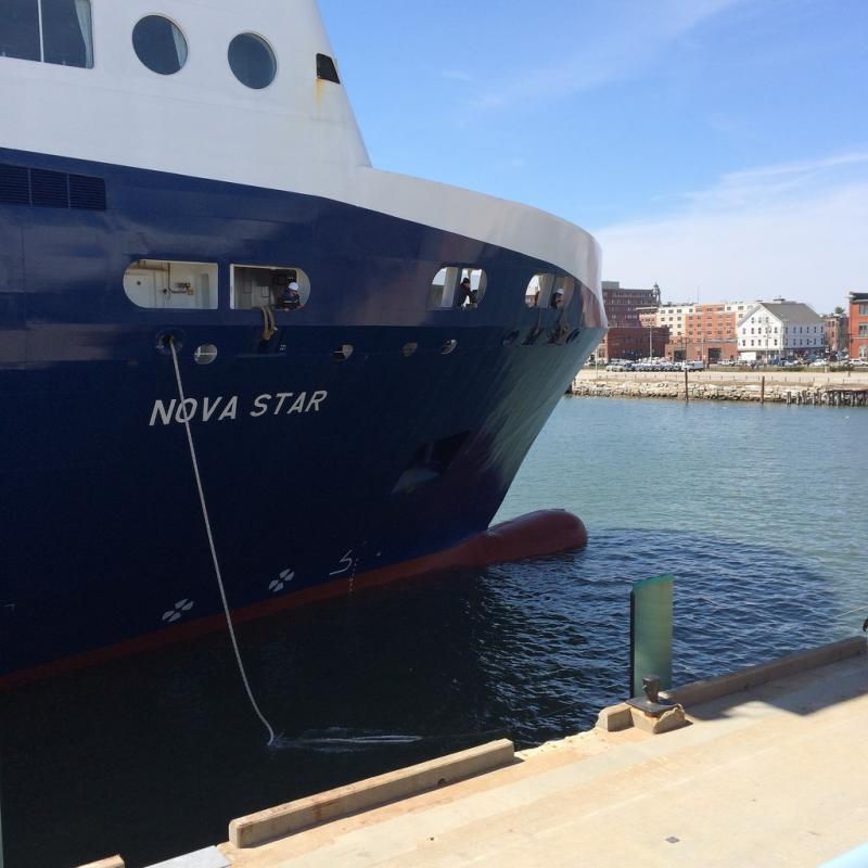 Nova Star bow tied up at the Ocean Gateway Terminal in Portland