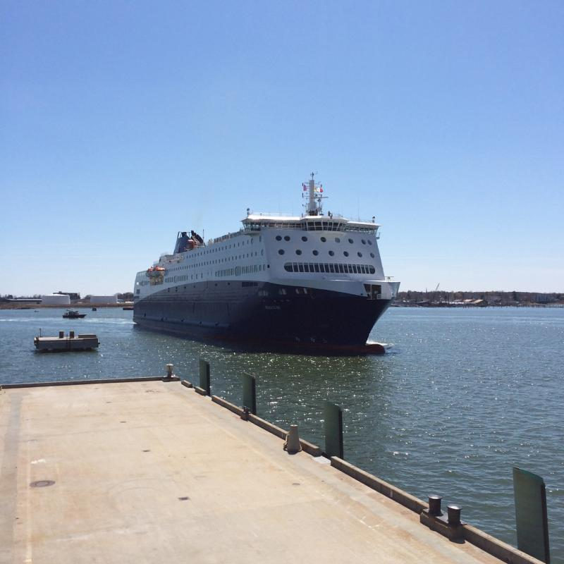 The new Nova Star ferry, which will carry passengers between Portland and Yarmouth, Nova Scotia arrives in Portland for the first time.