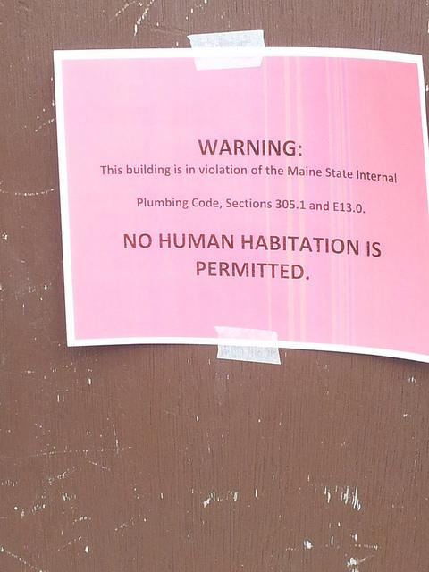 The eviction notice posted on trailers at the Meadowbrook Trailer Park