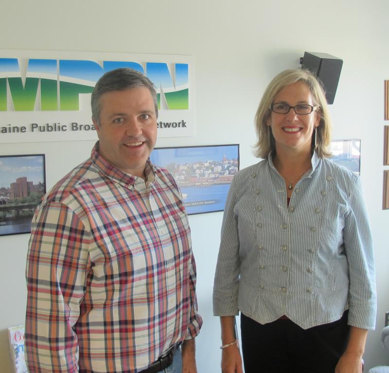 Dan Demeritt and Cynthia Dill (r.) Democratic pundit at the MPBN studios in Portland.