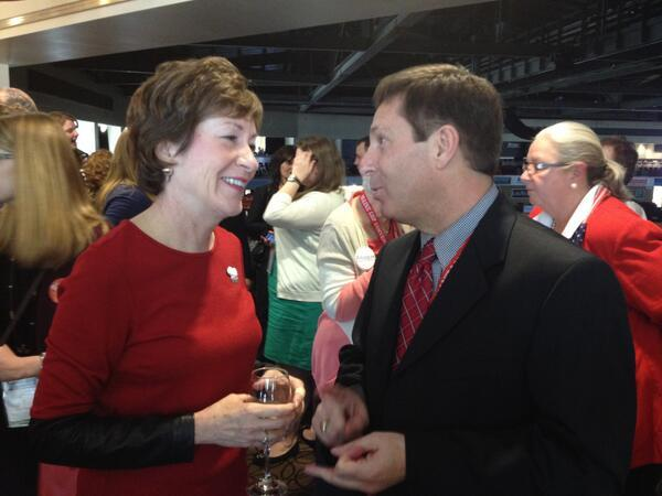 U.S. Senator Susan Collins (left) and Maine House Minority Leader Ken Fredette interact in the Senator's hospitality suite at the GOP Convention inside the Cross Insurance Center in Bangor on April 25, 2014.