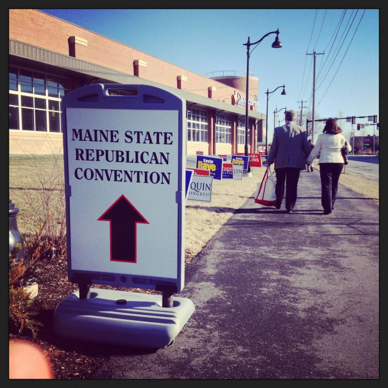 The walkway into the Cross Insurance Center in Bangor where the GOP convention was held April 25-26, 2014.