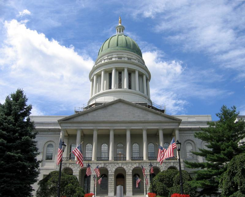 A photograph of the Maine State House in Augusta, Maine.