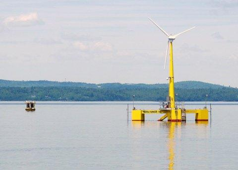 The VolturnUS floating wind turbine in June 2013.