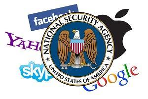 NSA, Google, Apple, Yahoo!, Skype, Facebook logos