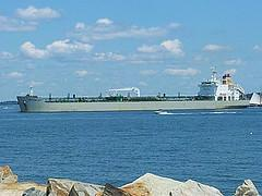 A tanker makes its way recently into the harbor in South Portland.