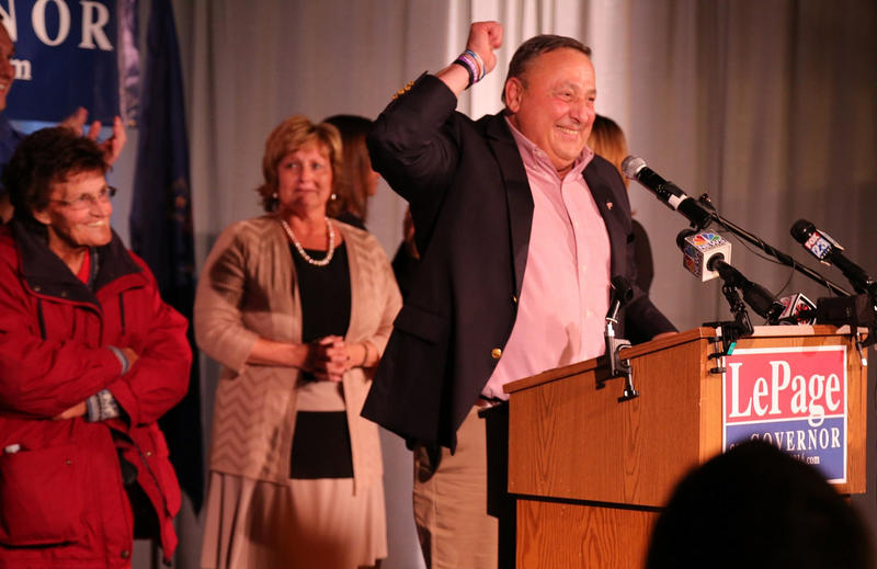 Gov. Re-elect Paul LePage Raises Fist in Victory