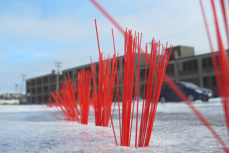 A University of Southern Maine installation art project in Portland designed to draw attention to sea level rise predicted by scientists.
