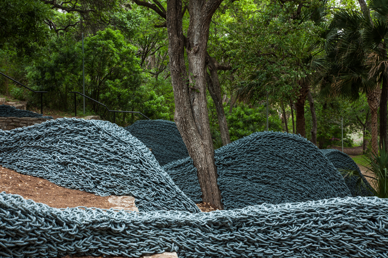 Current The Austin Contemporary - Laguna Gloria, TX, 2014, recycled lobster rope and paint, Orly Genger