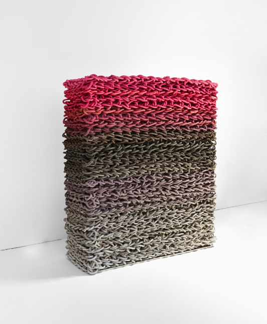 Untitled (Gradient Grey/Pink) 2014, recycled lobster rope and paint, 18 x 50 x 60 inches, Orly Genger