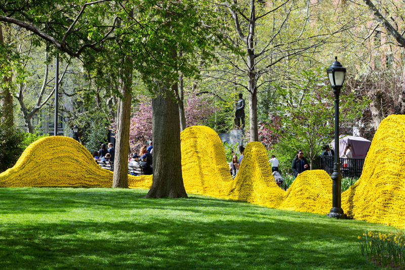Red, Yellow and Blue Madison Square Park, NY, 2013, recycled lobster rope and paint, Orly Genger