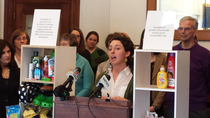 Jessica Graham of Waterville calls for better information about chemicals in kids' products at a news conference in Augusta Wednesday.