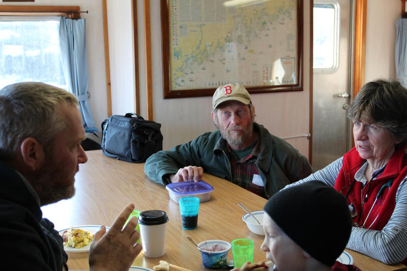 Islanders talk over breakfast with the Sunbeam's nurse, Sharon Daley, right. The boat provides telemedicine and basic clinic service.