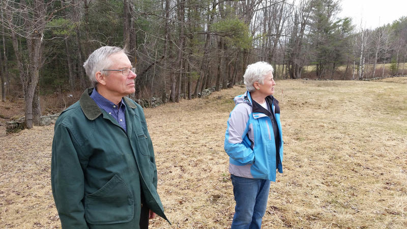 Russ and Judy Florenz, co-owners of Maine's first community solar project, at their farm in South Paris.