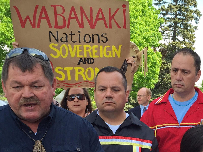 """From Left, Tribal Chiefs Fred Moore, of the Passamaquoddy reservation at Pleasant Point;  """"Billy"""" Nicholas, of the Passamaquoddy reservation at Indian Township and Kirk Francis of the Penobscot Nation, talk with reporters."""