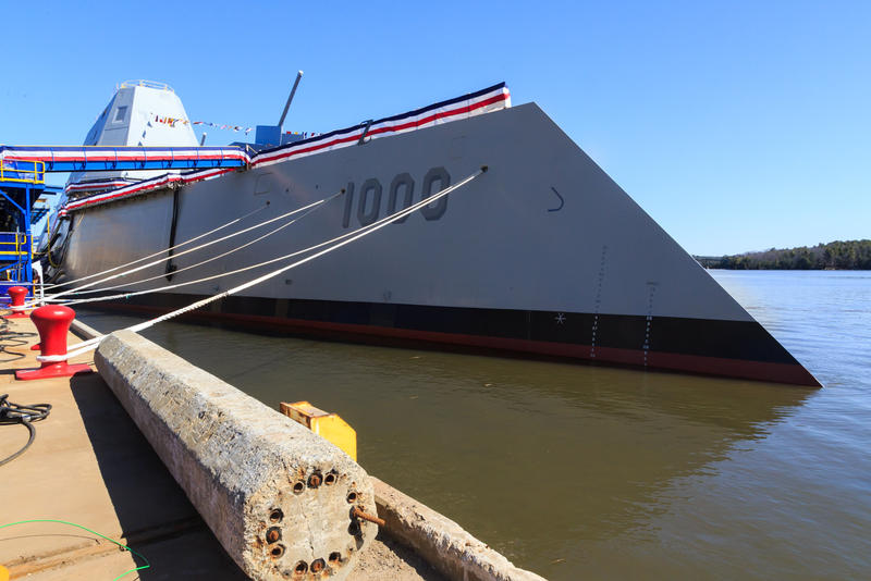 BIW Lauches its first DDG-1000 destroyer April 12, 2014.