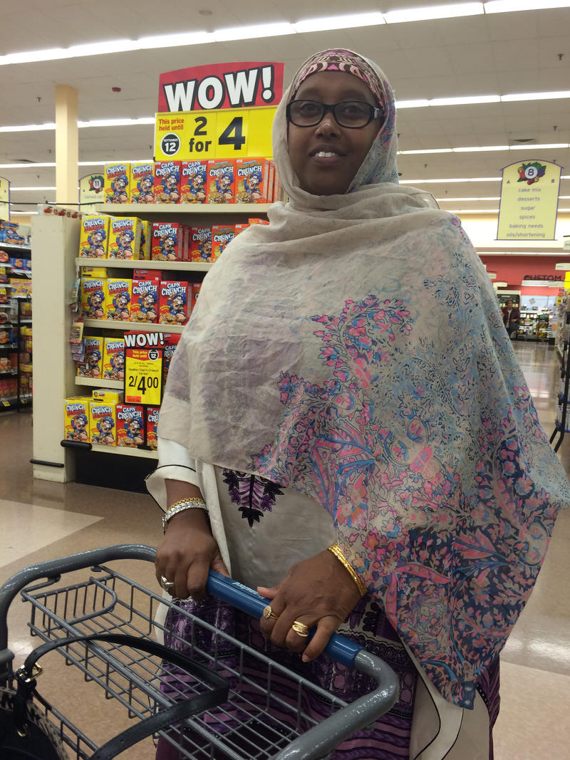 Deqa Dhalac on a recent shopping trip at the Hannaford grocery store near the Maine Mall..