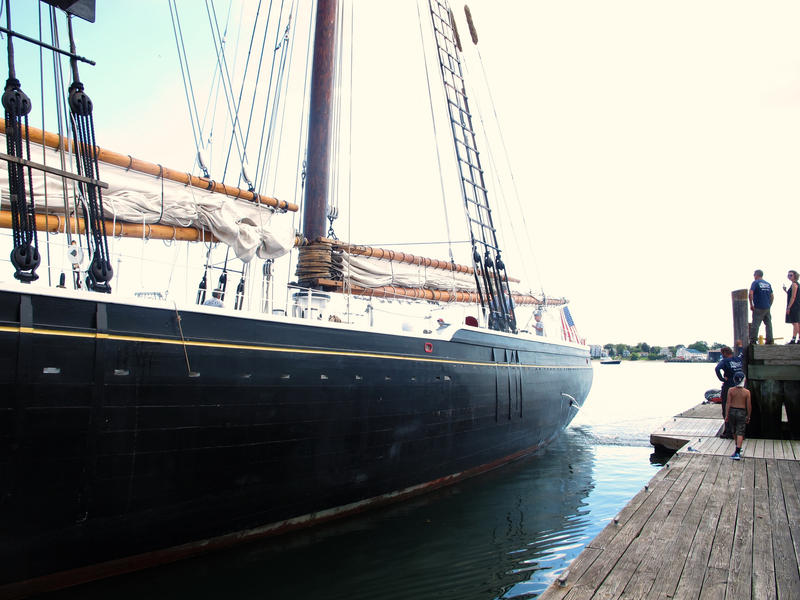 A view of the hull of the twin-masted schooner Adventure.