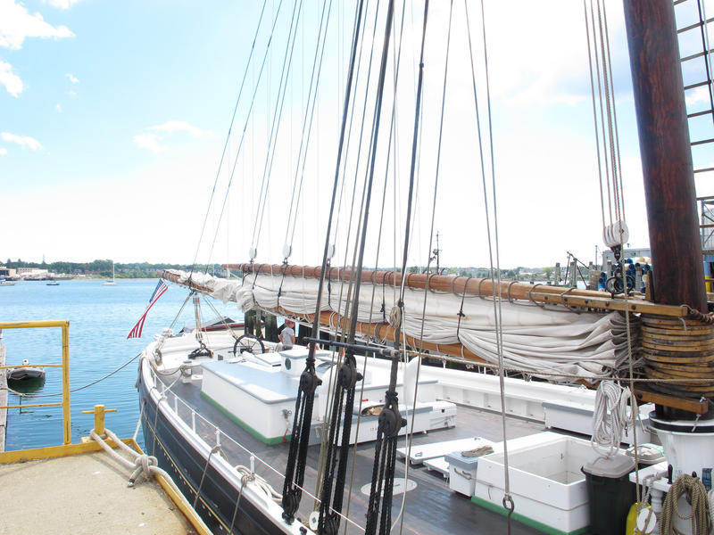 The Adventure sits in Portland Harbor, ready to be stocked with Maine goods.
