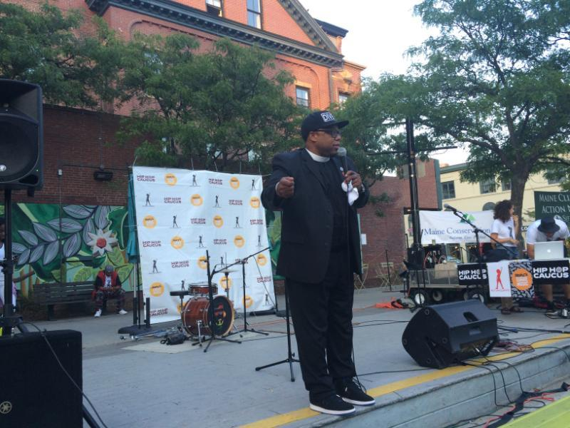 Rev. Lennox Yearwood Jr. addresses the crowd in Congress Square in Portland on Wednesday night.