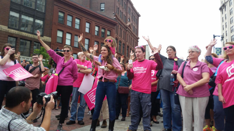 Planned Parenthood supporters rally Tuesday in downtown Portland.