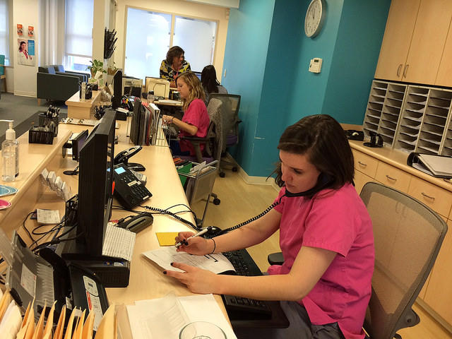 Erin McGuigan works at the front desk of the Portland Planned Parenthood clinic.