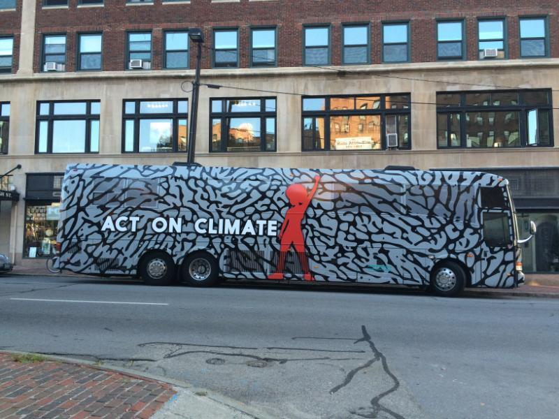 The bus on the Portland stop of the Hip Hop Caucus' Act on Climate bus tour.